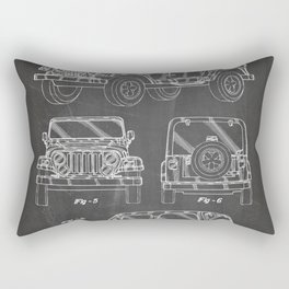 Jeep Wrangler Patent - Jeep Art - Black Chalkboard Rectangular Pillow