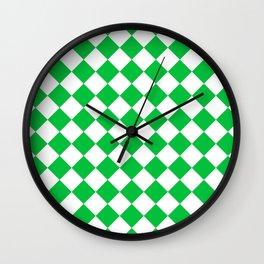 Diamonds - White and Dark Pastel Green Wall Clock