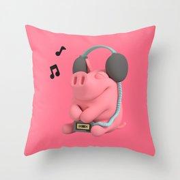 Rosa the Pig Walkman Throw Pillow