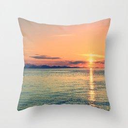 Pastel Sunset Calm Blue Water Throw Pillow