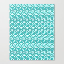 Paw Prints on my Heart - in Cyan Canvas Print