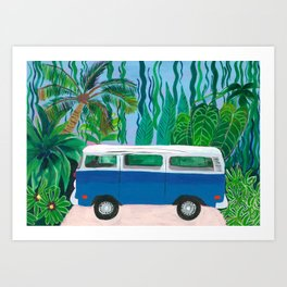 Blue Campervan Art Print
