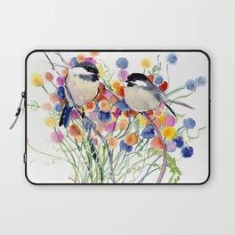 Chickadees and Flowers Laptop Sleeve