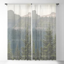 Mount Rainier Summer Adventure II - Pacific Northwest Mountain Landscape Sheer Curtain