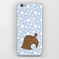 animal crossing iPhone & iPod Skins featuring Animal Crossing Winter Leaf by Rebekhaart