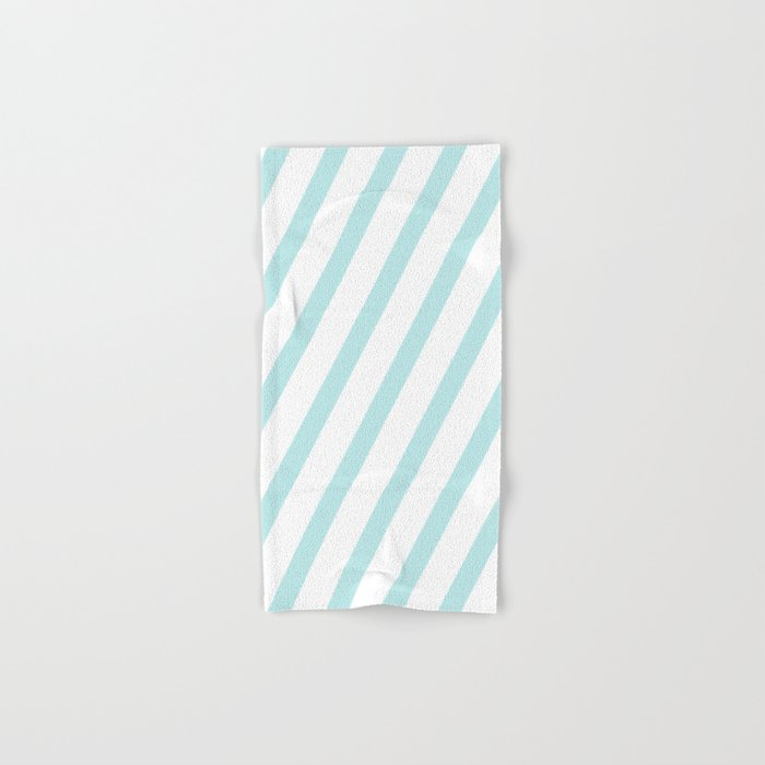 Diagonal stripes - turquoise fresh summer pattern Hand & Bath Towel