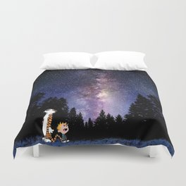 calvin and hobbes in the night large Duvet Cover