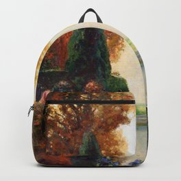 Venetian Silver and Gold - Luxuriant Italian Autumn Garden floral landscape by Thomas Mostyn Backpack