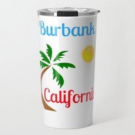 Burbank California Palm Tree and Sun Travel Mug