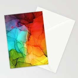 Rainbow Ink Painting Stationery Cards