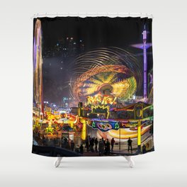 Fairground Attraction panorama Shower Curtain