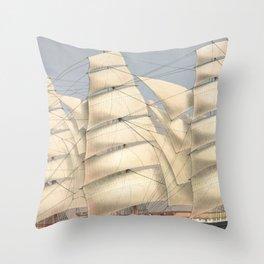 Vintage Ship Art - Nautcal Decor Throw Pillow