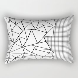Abstraction Outline Grid on Side White Rectangular Pillow