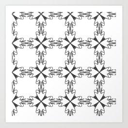 Pattern black white floral Art Print