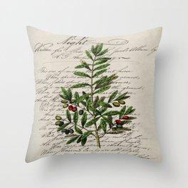 Chic paris scripts kitchen artwork french botanical leaf olive Throw Pillow