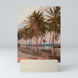 Vintage Palm Tree and Beach Art Mini Art Print