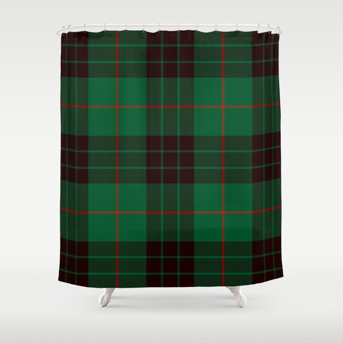 Dark Green Tartan with Black and Red Stripes. Large-Scale Plaid Pattern. Shower Curtain