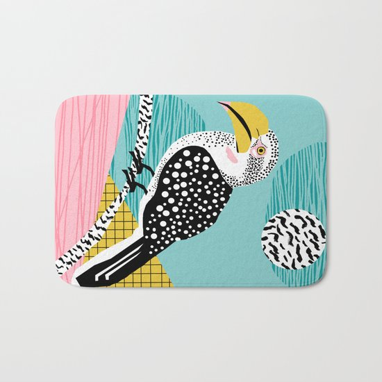 What - memphis tropical retro neon throwback 1980s 80s style hipster abstract bird vacation nature Bath Mat