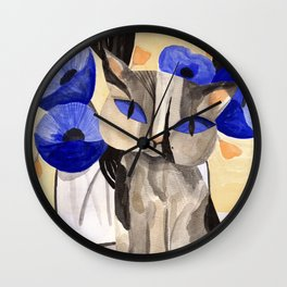 Cat with Blue Poppies Wall Clock