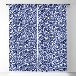 William Morris Thistle Damask, Cobalt Blue & White Blackout Curtain