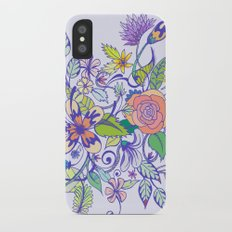 Floral Blue iPhone X Slim Case