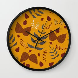 Autumn leaves and acorns - ochre and brown Wall Clock
