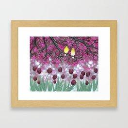 goldfinches, tulips, & flowering crabapple Framed Art Print