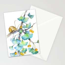 Ginkgo and A Snail Stationery Cards