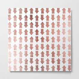 Modern faux rose gold minimal arrows pattern Metal Print