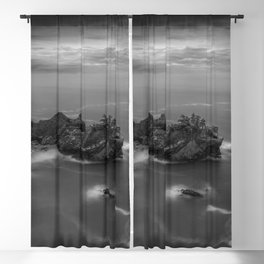 Big Sur, California Pacific Coast Highway coastal beach black and white photograph / art photography Blackout Curtain