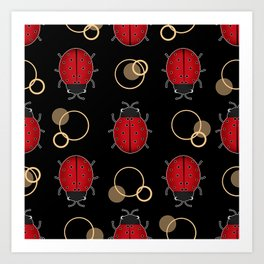 Cheerful ladybugs . Art Print
