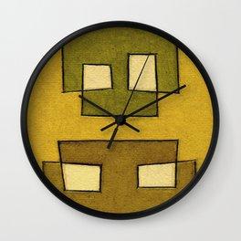 Protoglifo 02 'ochre closer to green' Wall Clock