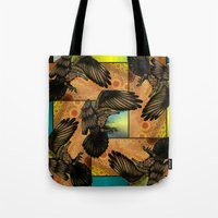 raven Tote Bags featuring Raven by Alohalani