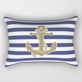 Sailor Stripes and Anchor Pattern Blue and Gold 21 Rectangular Pillow
