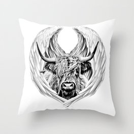 Angel Higland Cow Throw Pillow