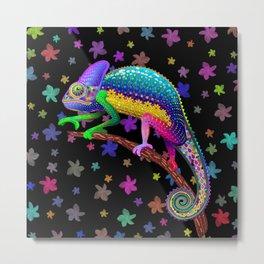 Chameleon Fantasy Rainbow Colors Metal Print