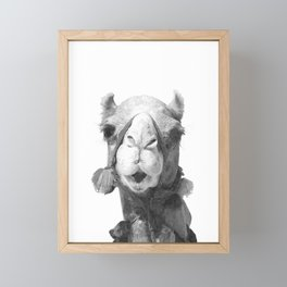 Black and White Camel Portrait Framed Mini Art Print
