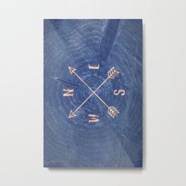 Rosegold and Blue Compass Metal Print
