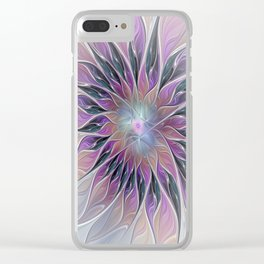 Fantasy Flower, Colorful Abstract Fractal Art Clear iPhone Case