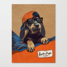 Hipster Puppy Canvas Print