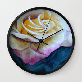 Pink and Yellow Rose painting Wall Clock
