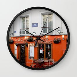 Red cafe terrace in Paris during the spring, France | Wanderlust feelings, bright and light | Street Wall Clock