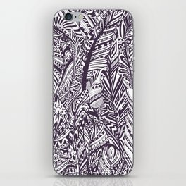 Purple white hand painted tribal bohemian feathers pattern iPhone Skin