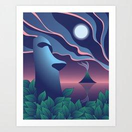 Moai Moon, Tiki Art Print