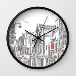 Whitstable Harbour Street - Grey and Red Wall Clock