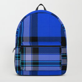 Argyle Fabric Plaid Pattern Blue and Black Backpack