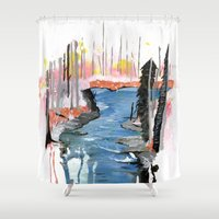 river Shower Curtains featuring River by Halfmoon Industries