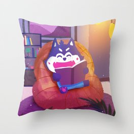 Reading Cat In Room Throw Pillow