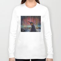 penguin Long Sleeve T-shirts featuring Aurora Penguin by Michael Creese