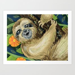 Three Toed Sloth Art Print